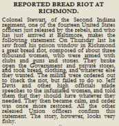 First-hand news account of the bread riot by a freed Union Colonel